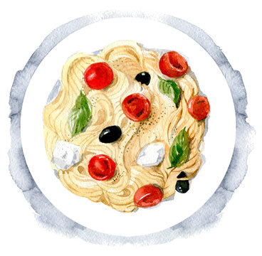 Delicious pasta with olives, mozzarella and tomatoes. Italian cuisine. The view from the top.