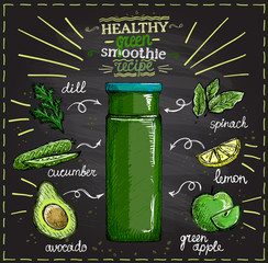 Healthy green smoothie recipe on a chalkboard with ingredients, summer vegetables cocktail sketch