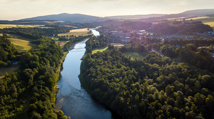 Aluminium Prints Night blue Aerial view of Aberlour and the river Spey, in Moray, Scotland.