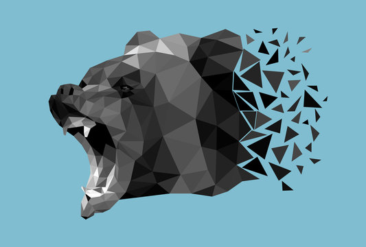 The head of bear that growls and shows fangs is made in the polygonal style. Vector, EPS 10