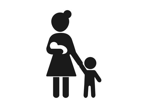 Mom with two kids vector icon