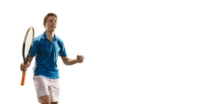 Isolated Male tennis player rejoices in victory on white background