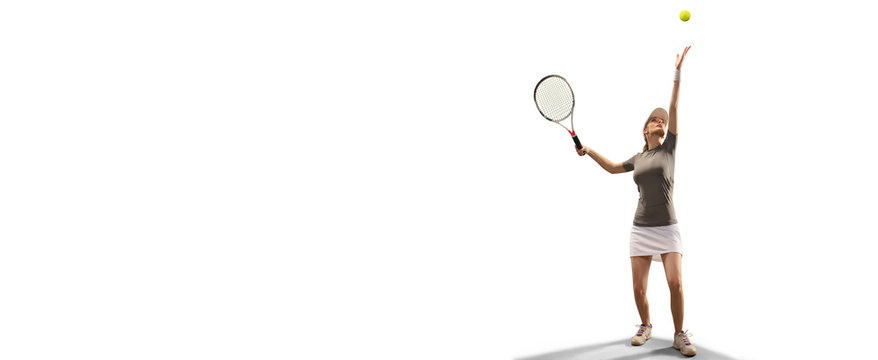 Isolated Female athlete plays tennis on white background