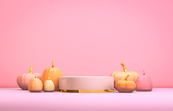 Abstract 3d Halloween backdrop with pastel pink cylinder box and pumpkins for products display. Halloween background.
