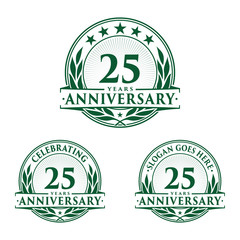 25 years anniversary logo set. 25th years anniversary celebration logotype. Vector and illustration.