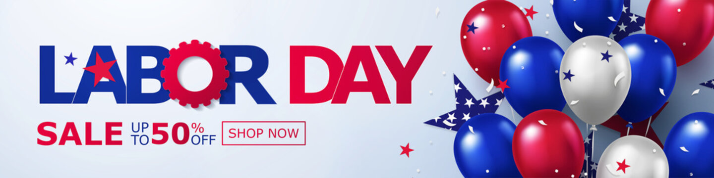 Happy Labor Day Sale long horizontal banner. USA festive design with helium balloons in national colors of american flag and stars pattern. Template  for sale, discount, advertisement, web.