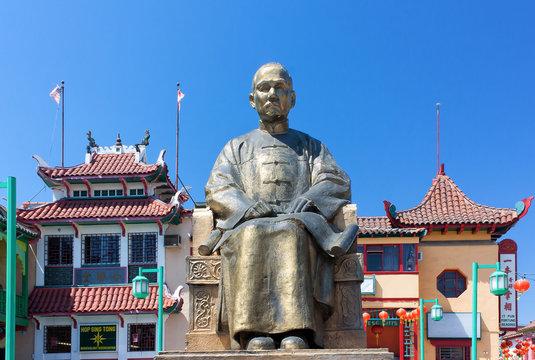 Sun Yat-sen Statue at Los Angeles Chinatown