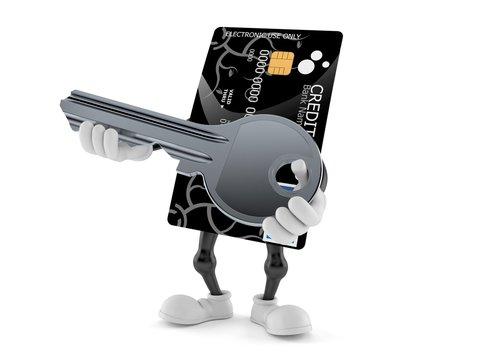 Credit card character holding door key