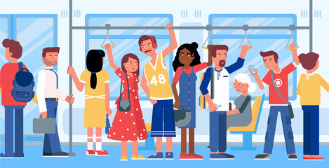 Public transport flat vector illustration