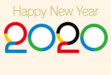 年賀状2020年-4つの円形フォトフレームスペース