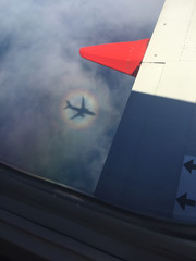 Airliner shadow on the clouds