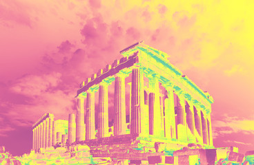 Fototapete - Parthenon on the Acropolis in Athens, Greece, on a sunset
