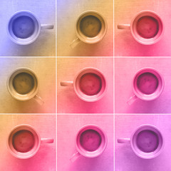 Coffee cups, photo collage in colorful pop art style