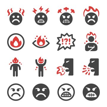 angry emotion icon set,vector and illustration