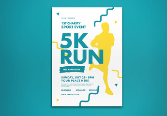 Fun Run Event Flyer Layout with Graphic Elements