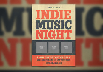 Music Event Flyer Layout with Bold Red and Blue Typography