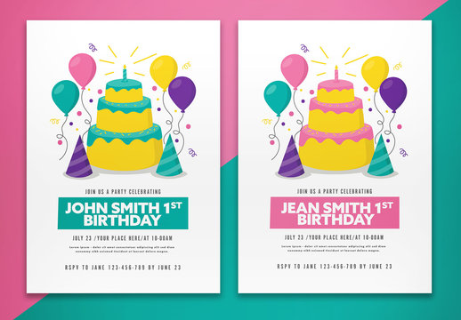 Birthday Party Flyer Layout Invitation with Illustrative Elements