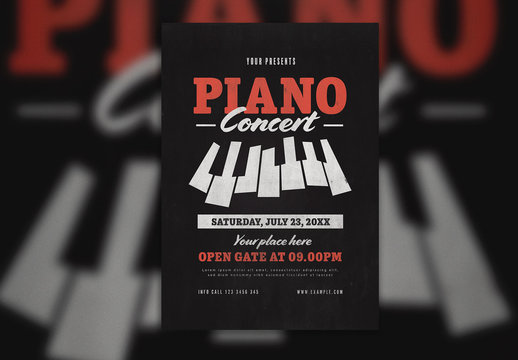 Piano Event Flyer Layout with Illustrative Keys