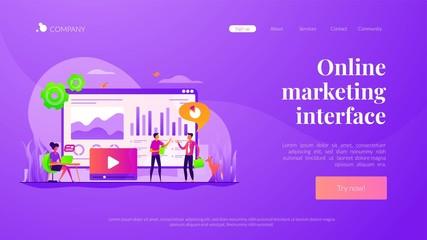 Data analysis, business analytics, SMM strategy. Analysts team working. Social media dashboard, online marketing interface, social media metrics concept. Website homepage header landing web page