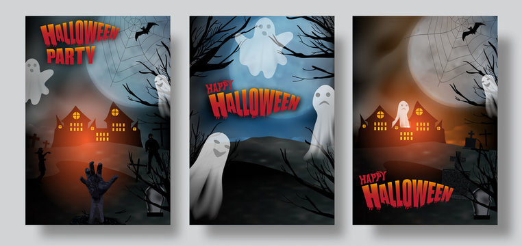 Set Halloween posters or banners dark background graveyard with ghost and zombie hand. Vector