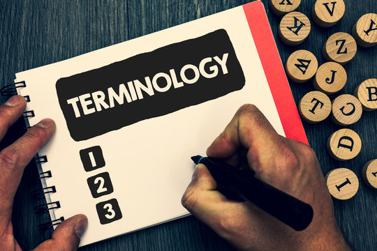 Writing note showing Terminology. Business photo showcasing Collection of terms used by different profession study industry Creative idea paper object inspiration lovely thoughts puzzle notepad