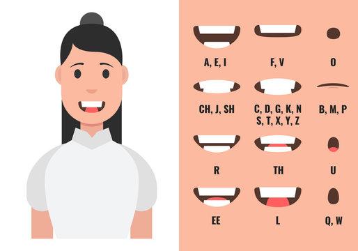 Female mouth animation. Phoneme mouth chart. Alphabet pronunciation. Vector illustration.