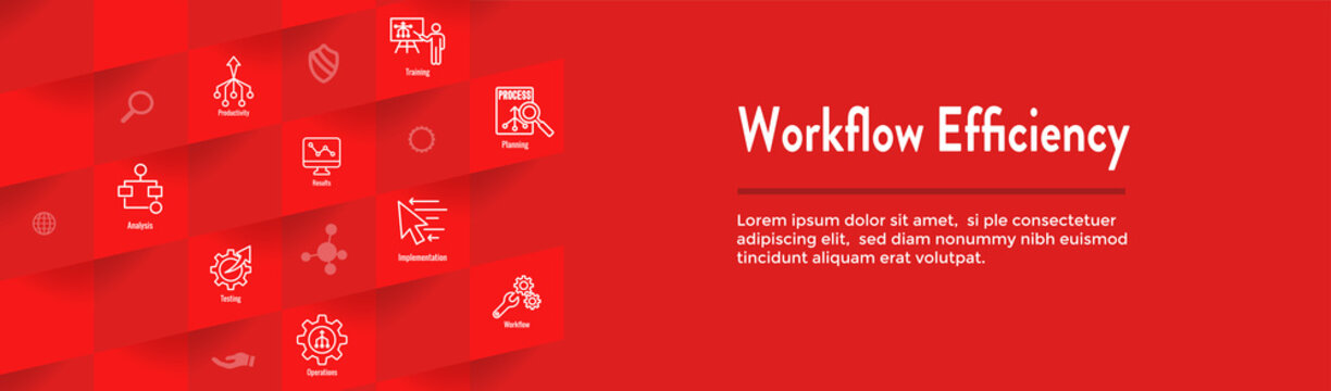 Workflow Efficiency Icon Set and Web Header Banner with Operations, Processes, Automation, etc