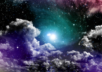 Canvas Prints Imagination galaxy in a free space. 3D rendering