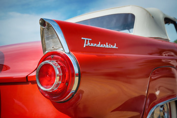 Tail fin of a red 1956 Ford Thunderbird Convertible classic car on October 17, 2015 in Westlake, Texas.