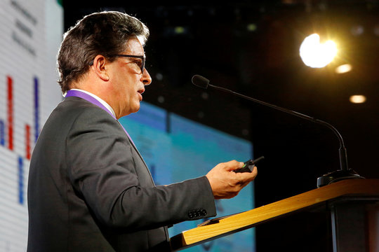 Colombia's Finance Minister Alberto Carrasquilla Barrera speaks during the Fourth Colombian Business Congress in Medellin