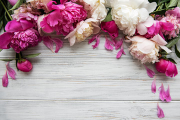 Wall Murals Floral Background with pink peonies