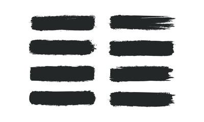 Brush stroke set isolated on white background. Collection of brush stroke for black ink paint, grunge backdrop, dirt banner, watercolor design. Creative art concept, vector illustration