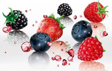 Berries mix into splashes of juices
