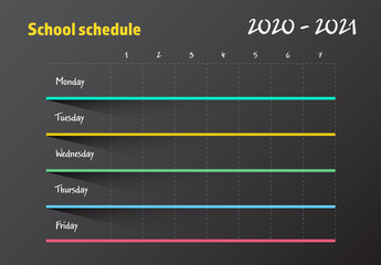 School Schedule Table Layout with Neon Colors
