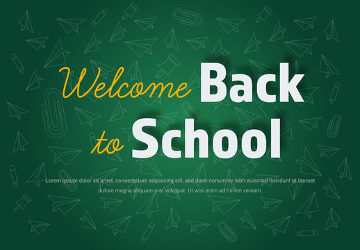 Back to School Banner Layout with Green Board Background