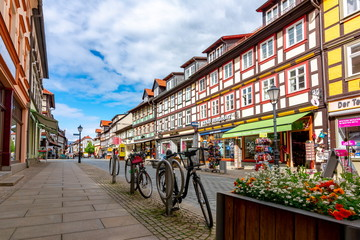Architecture of Wernigerode old town with half-timbered houses, Germany