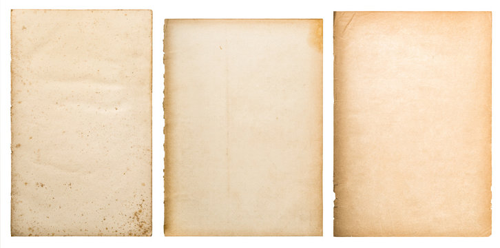 Old paper texture background worn book page isolated
