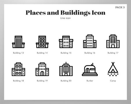 Places and buildings icons Line pack