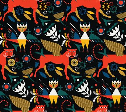 Myth and legends pattern seamless design illustration