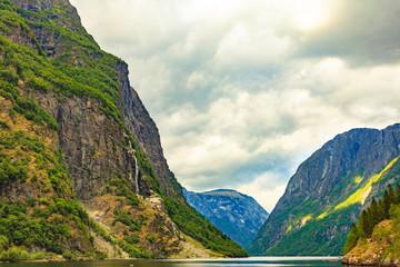 View on fjord Sognefjord, Gudvangen Norway