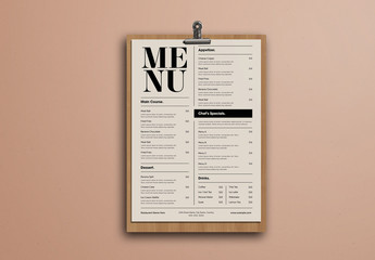 Simple Beige Food Menu with Bold Typography