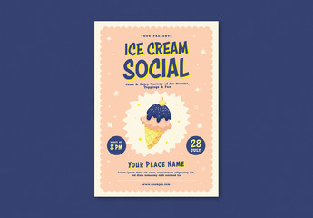 Event Flyer Layout with Illustrative Ice Cream