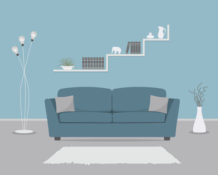 Blue living room with sofa and floor lamp. There are also shelves with books and home decor, a vase with decorative branches in the picture. Vector flat illustration.