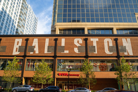 Arlington, Virginia - August 7, 2019: Ballston Quarter, a retail and restaurant area in the trendy neighborhood. This is in the space of the former Ballston Common Mall