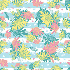 Vector pastel colourful seamless pattern with tropical torch ginger flowers and blue stripes. Suitable for textile, gift wrap and wallpaper.