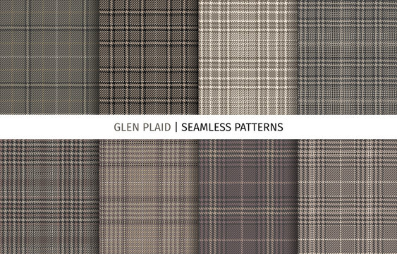 Set of glen check seamless patterns.