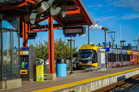 Minneapolis, MN - May 2 2019: Train arrives at 38th Street Station, a MetroTransit light rail train station. This is one of the public transportation options in the Twin Cities Metro Area