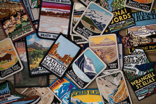 Feb 24, 2019 - Maple Grove, MN: Flatlay arrangement of various USA United States National Parks and monuments patches from gift shops. Concept for USA travel