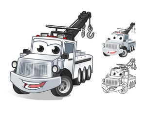 Happy Tow Truck Cartoon Character Design, Including Flat and Line Art Designs, Vector Illustration, in Isolated White Background.