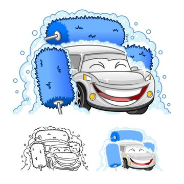 Happy Car Cartoon Character Design in Automatic Tunnel Car Wash Systems, Including Flat and Line Art Designs, Vector Illustration, in Isolated White Background.